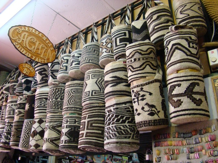 """Traditional bags known as """"mochilas"""" in a handicraft market in Valledupar, Colombia"""