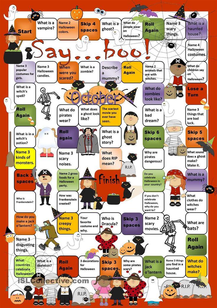Halloween Board Game worksheet - Free ESL printable worksheets made by teachers