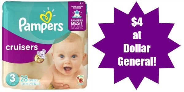 Dollar General: Pampers Jumbo Pack Diapers Only $4!