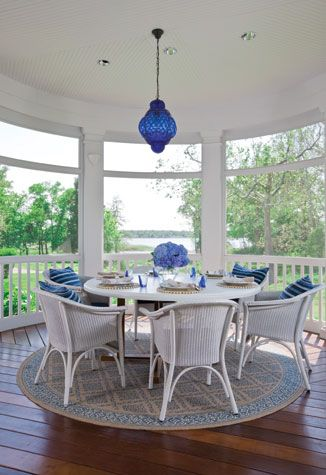 Screened porch - use a rug under table