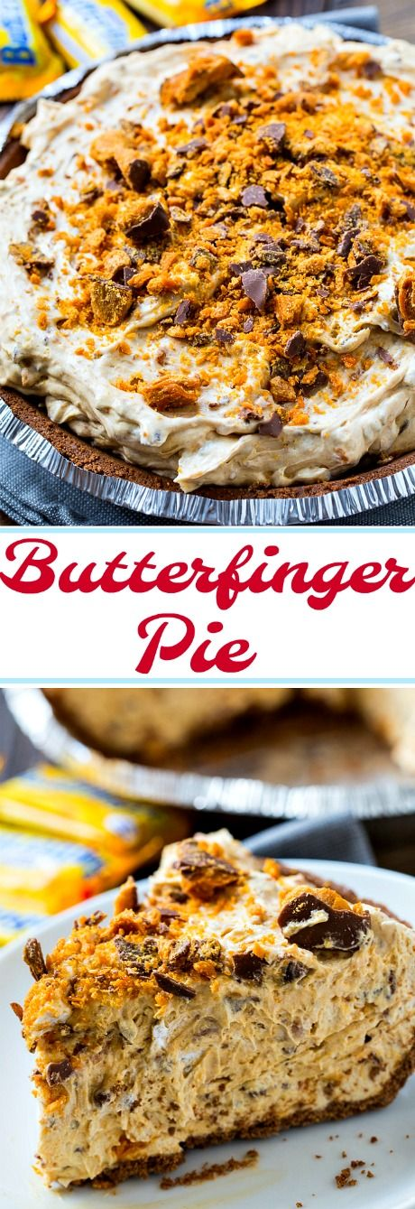 Dessert doesn't get any better than this easy no-bake Butterfinger Pie! #desserts #pie #candy