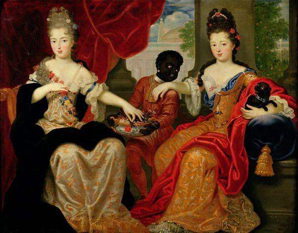 Philippe Vignon 1638-1701 - the two surviving daughters of Madame de Montespan and Louis XIV - the blonde, Francoise-Marie de Bourbon, Duchesse d'Orléans, 2nde Mademoiselle de Blois (1677-1749) and Louise-Francoise de Bourbon, Mademoiselle de Nantes, Duchesse de Bourbon (1673-1743)
