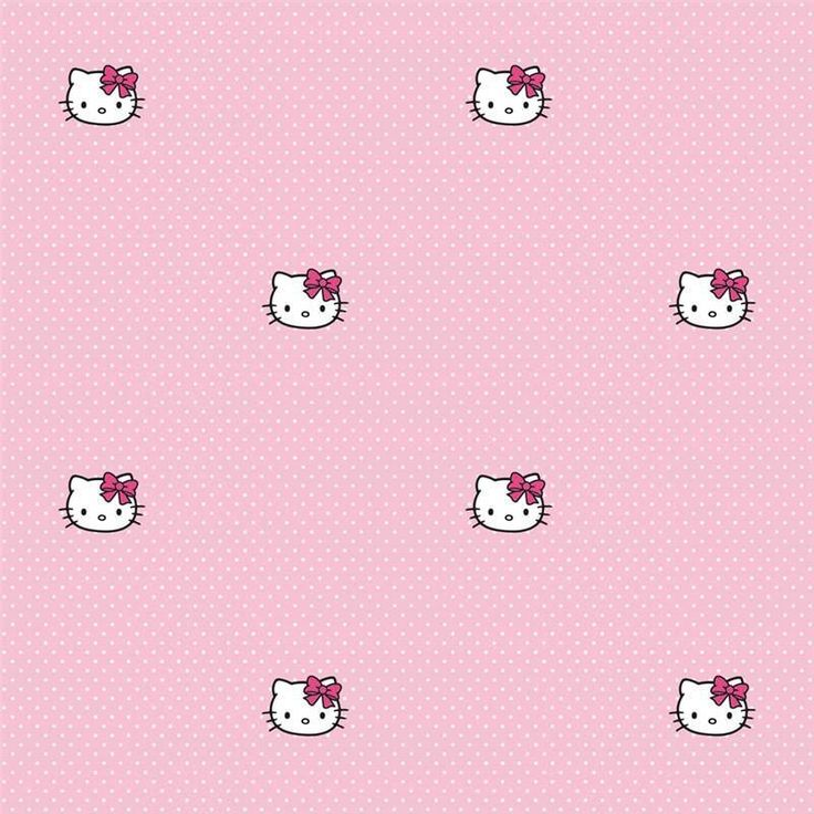 Pink / White Polka Dots - DF73399 - Hello Kitty - Polka Dots - Wallpaper #Decofun #Wallpaper