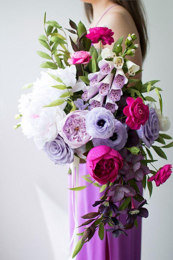 Purple Paper Flower Bouquet Wedding Inspiration Paper Flowers