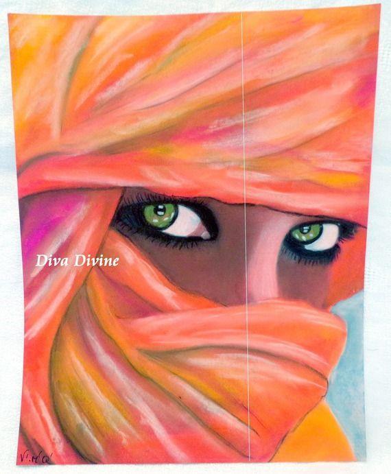 Tableau portrait de femme boh me hippie cr ation avec for Tableau geometrique pastel