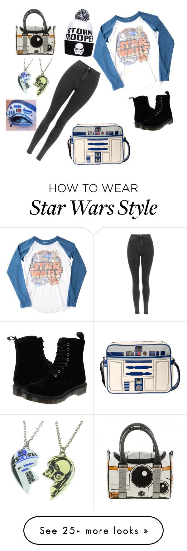 """Going to watch Star Wars so excited "" by wedonthavetolivethisway on Polyvore featuring Junk Food Clothing, Dr. Martens and R2"