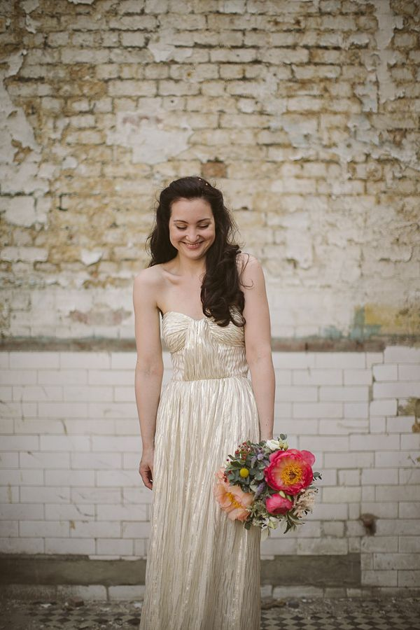 Gold wedding dress, from 'A Mint Green And Gold Inspired Laid Back London Wedding'  http://www.tomravenshear.com/