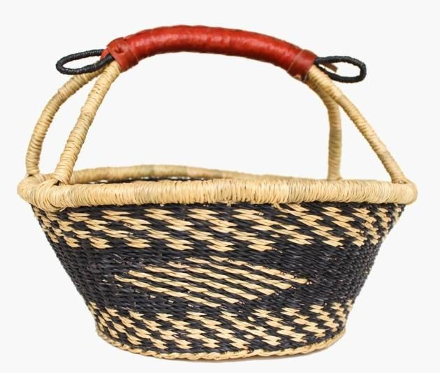 A cool diamond pattern adds a nice touch to this woven basket.