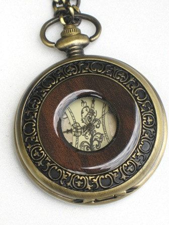 Steampunk - OLD ENGLISH -  Pocket Watch - Mechanical - Large - Skeleton Style - Necklace - GlazedBlackCherry
