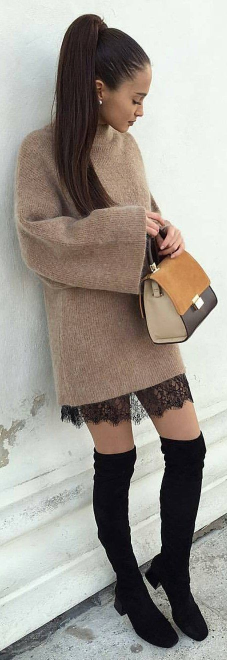 #winter #fashion / Camel Knit Dress + Black OTK Boots