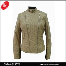 Ladies lozenge zippers PU jacket with cotton  Best Seller follow this link http://shopingayo.space