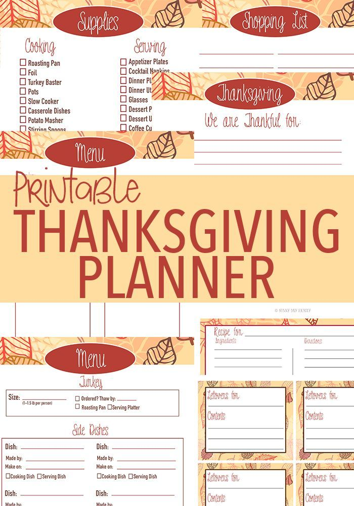 Everything you need to plan the perfect Thanksgiving! Checklists, menu planner, shopping list, recipe cards, leftover labels, place cards, and more. Get organized and enjoy your holiday with this awesome printable planner!