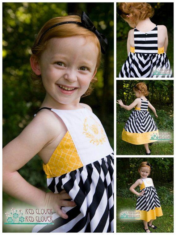 Baby Hourglass Dress  girls' summer dress  by RabbitRabbitCreation