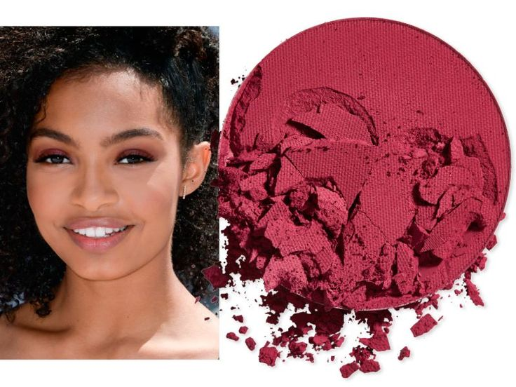 "Dust on a cranberry powder like Yara Shahidi's--it's an unexpected neutral on medium-dark skin. <strong>THE SHADE: </strong> Make Up For Ever Artist Shadow in M846. $21 | <a rel=""nofollow"" href='http://click.linksynergy.com/fs-bin/click?id=93xLBvPhAeE&subid=0&offerid=429865.1&type=10&tmpid=10002&RD_PARM1=http%253A%252F%252Fwww.sephora.com%252Fartist-shadow-eyeshadow-and-powder-blush-P387670&u1=ISELeyeshadowskintones'>SHOP IT</a>"