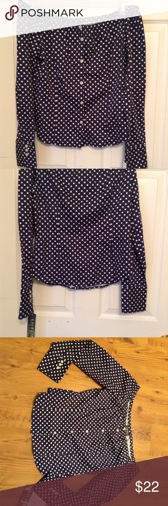 NWT Ralph Lauren Blue Size M  Polka Dot Blouse Top You are buying a NWT Ralph Lauren Blue Size M  Polka Dot Blouse Top  SIZE:M    CONDITION: no stains, rips or damage.  LOCATION: From a pet free and smoke free home!  SHIPPING: We ship all items within 1 business day of your payment clearing  (excludes weekend and holidays) Lauren Ralph Lauren Tops Blouses