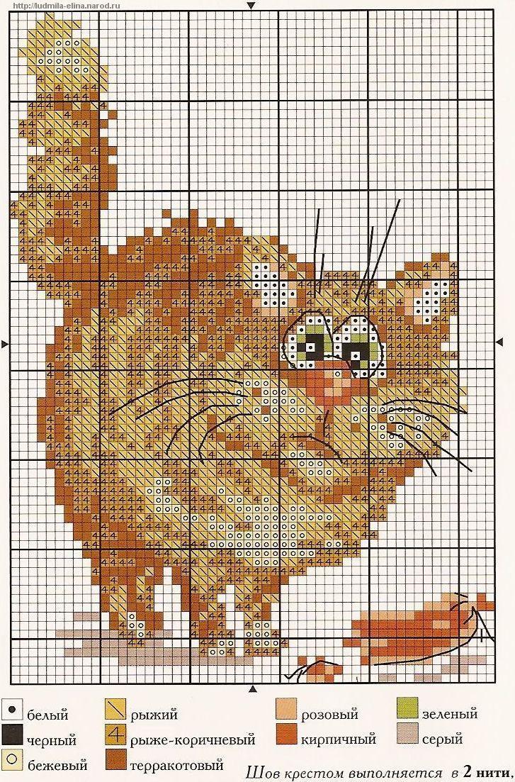 Рыжий кот .схема - Вышивка