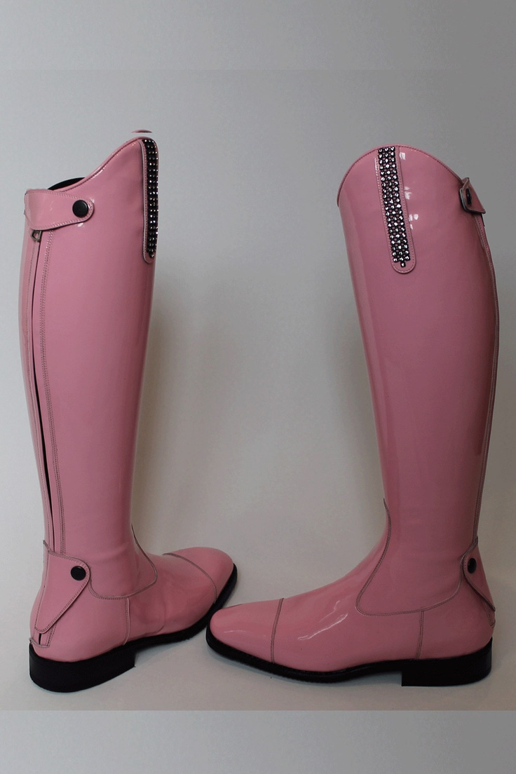 Made to Measure Pink leather patent Italian riding boots - DeNiros
