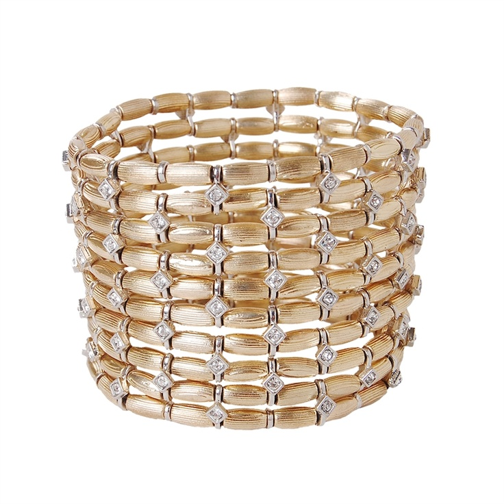 Add a touch of elegance to any outfit with this chic doublewide basketweave stretch bracelet in gold tone. Neutral base accented with platinum tone and crystal detailwork.    $38.00: Doublewide Basketweave, Stretch Bracelets, Platinum Tone, Chic Doublewide, Crystal Detailwork, Base Accented, Gold Tone, Basketweave Stretch