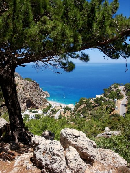 Looking down to the beach, Karpathos Island Greece
