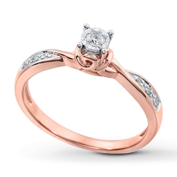 Kay Diamond Promise Ring 1 10 ct tw Round cut 10K Rose Gold $399