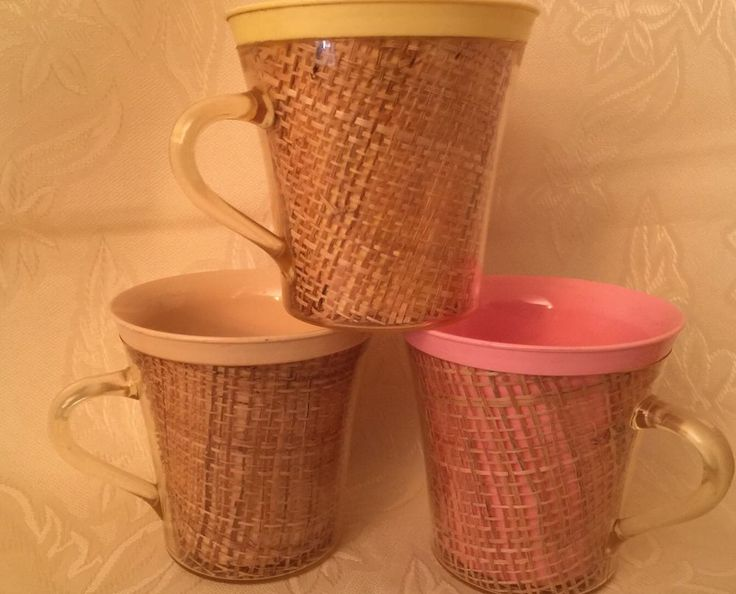 3 Vintage Insulated Burlap Weave Melamine Plastic Mugs Cups Pink Beige Yellow | Collectibles, Kitchen & Home, Tableware | eBay!