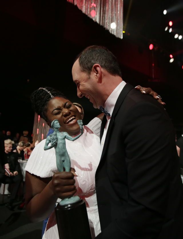 Danielle Brooks and Tony Hale at The 23rd Annual Screen Actors Guild Awards at The Shrine Auditorium on January 29, 2017 in Los Angeles, California.