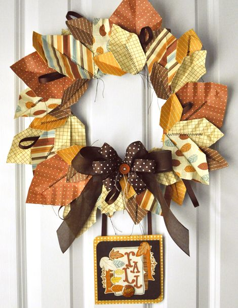 Fall paper wreath, How to's on folding paper leaves and make this one. (a little sad that there is not a printable for the card at the bottom)