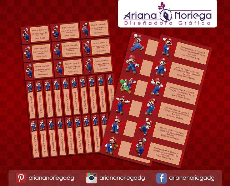 Kit Imprimible de #etiquetas personalizadas con el motivo #MarioBros. | 3 tamaños: 9 x 3,5 cm, 5 x 1 cm y 5 x 3 cm. |   Personalized and printable #labels pack - #MarioBros.  | 3 sizes: 9 x 3,5 cm, 5 x 1 cm and 5 x 3 cm. |   Tienda/Shop: https://www.etsy.com/es/shop/ArianaDesignStore