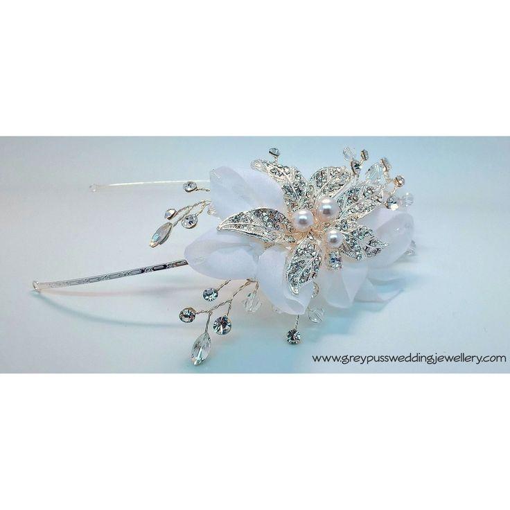 Diamante Flower Bridal Side Cluster Headband