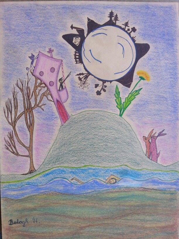 A büszke Hold. Moon's world. Pastell pencil; Progresso pencil  fineliner; A4 paper. Artist: Balogh Krisztina.