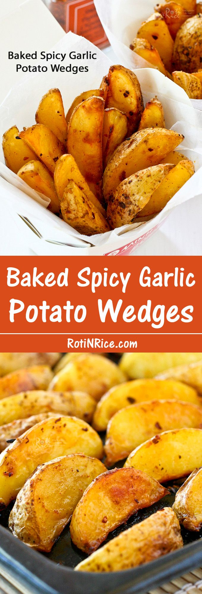Delicious Baked Spicy Garlic Potato Wedges that are crunchy on the outside and soft on the inside with a slightly spicy and garlicky flavor. | RotiNRice.com