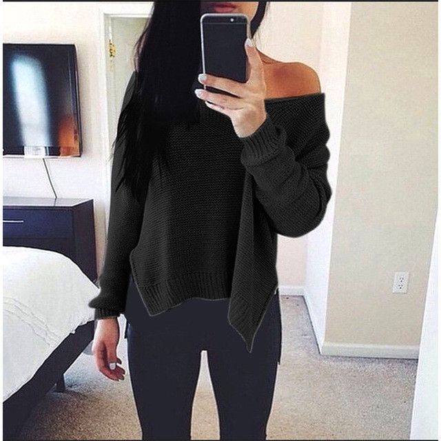 V neck one shoulder autumn sweater 2016 casual new slim solid grey women sweaters and pullovers side split jumper knitwear sale