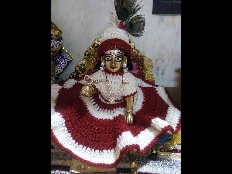 Part 2 - In English - How to make crochet winter dress of Bal Gopal. Ladoo Gopal