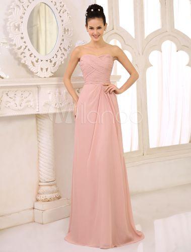 Schulterfreies Brautjungfern Kleid aus Chiffon mit Herz-Ausschnitt und Plissees in Nude-Tönen - Milanoo.com