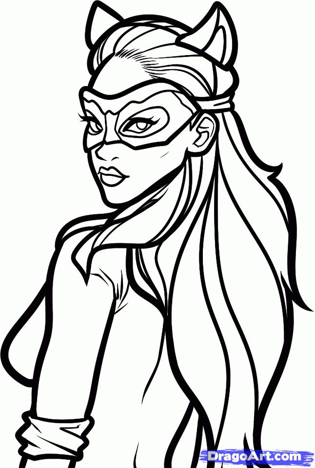 how to draw catwoman anne hathaway step by step dc comics catwoman coloring sheet