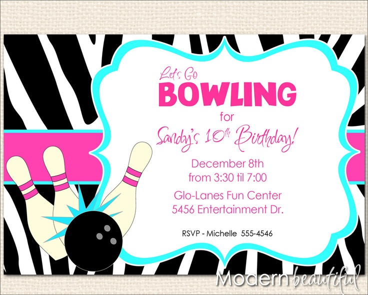 Girl Diva Bowling Invitation Zebra Hot Pink Blue