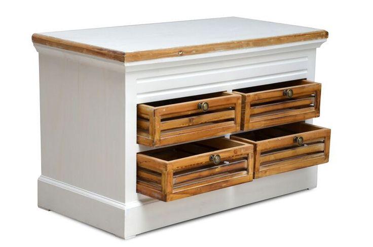 #Kommodenbank Burgund - mit 4 Holzschubladen - Antik-Look - weiß/graubeige - lackiert