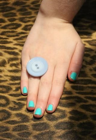 Pretty Disturbia Blue Button large handmade Ring from Pretty Disturbia £3
