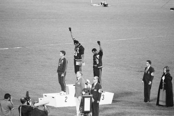 OCTOBER 16, 1968 - Tommie Smith and John Carlos, gold and bronze medalists in the 200-meter run at the 1968 Olympic Gam... - Provided by Redbook