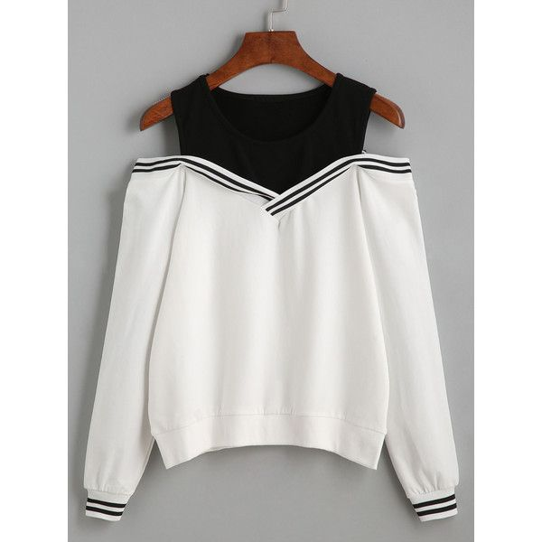 Varsity Striped Contrast Open Shoulder Sweatshirt ($24) ❤ liked on Polyvore featuring tops, hoodies, sweatshirts, cold shoulder tops, cold shoulder sweatshirt, long sleeve pullover, pullover sweatshirts and white cold shoulder top