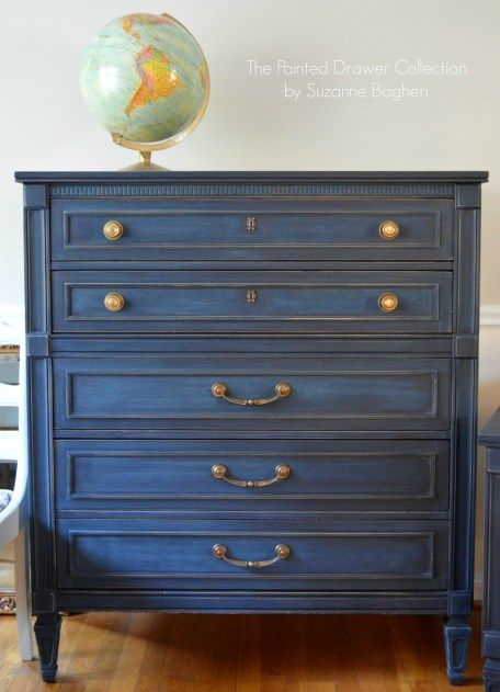 General Finishes Coastal Blue. The Coastal Blue was sanded to create an almost denim look. It pairs well with brass or gold hardware.