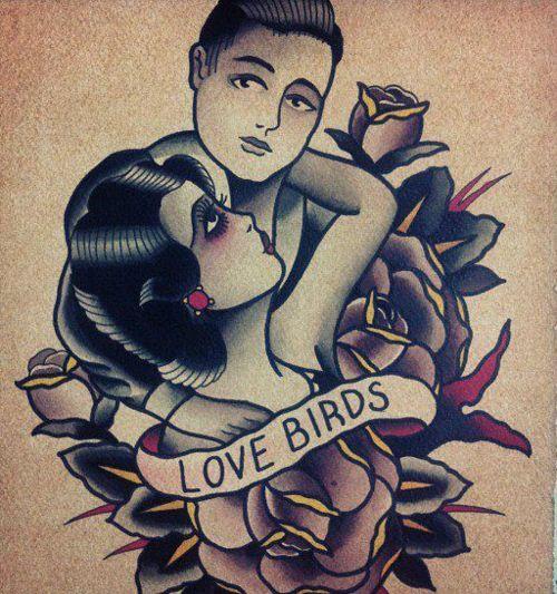Love Birds Tattoo Flash | KYSA #ink #design #tattoo