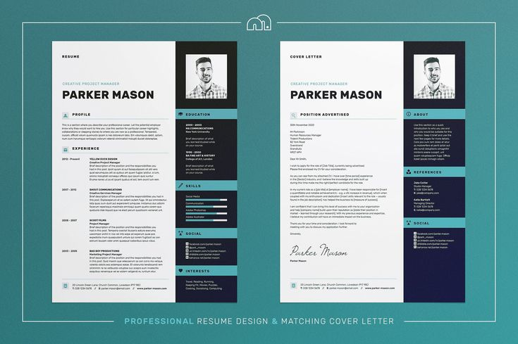 Resume/CV - Parker by bilmaw creative on @creativemarket Professional Curriculum Vitae | Professional CV / Resume Template for MS Word + Cover Letter | Mac or PC |