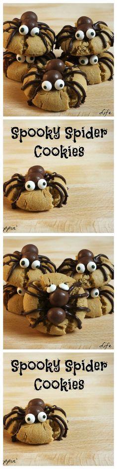 Galletas con arañas para Halloween.