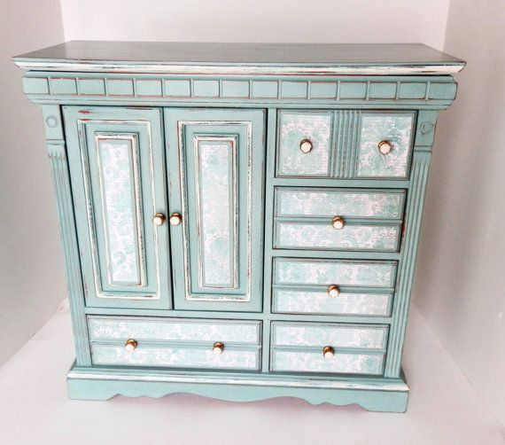 Large Upcycled Jewelry Box Jewelry Chest Ladies Girls Jewelry Armoire Duck Egg Blue Annie Sloan Chalk Paint Jewelry Organizer Display on Etsy, $135.00