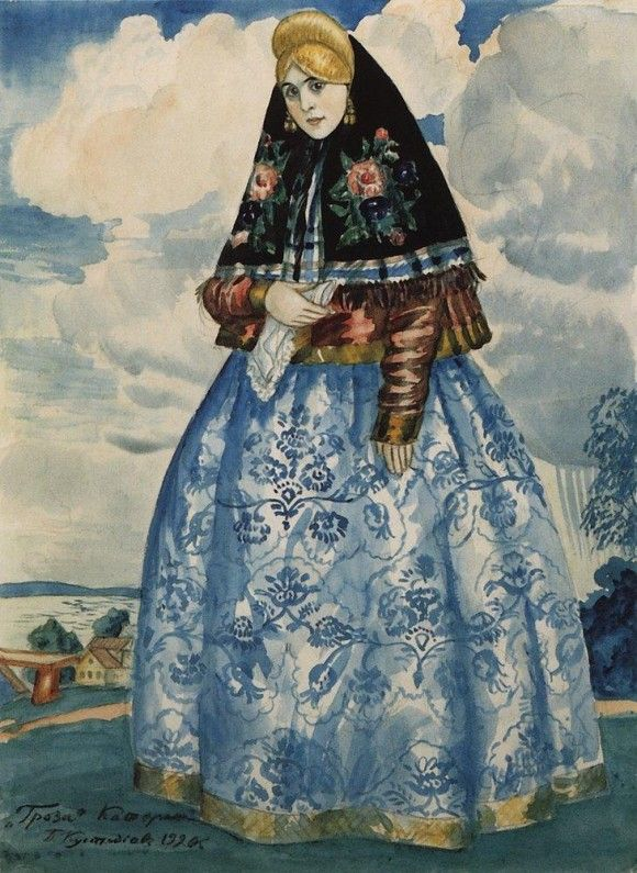 "Russian costume in painting. Boris Kustodiev. Katerina. A sketch of the stage costume to the play ""The Thunderstorm"" by Alexander Ostrovsky. 1920"