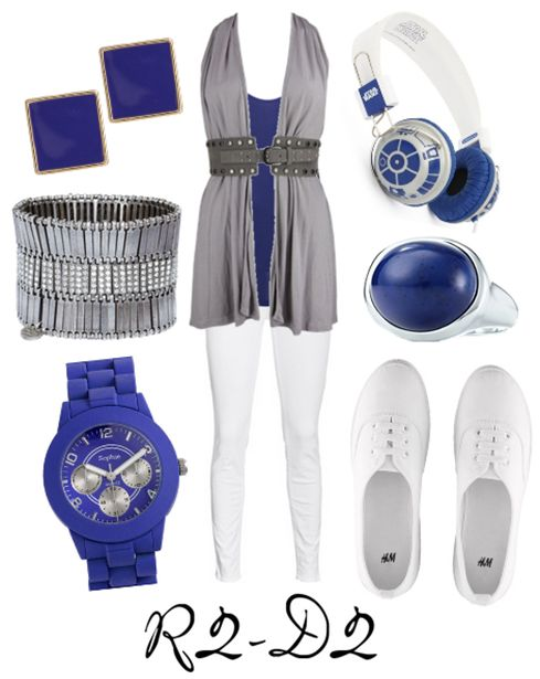 Casual cosplay of R2-D2 (from Star Wars movies)-- character inspired outfit