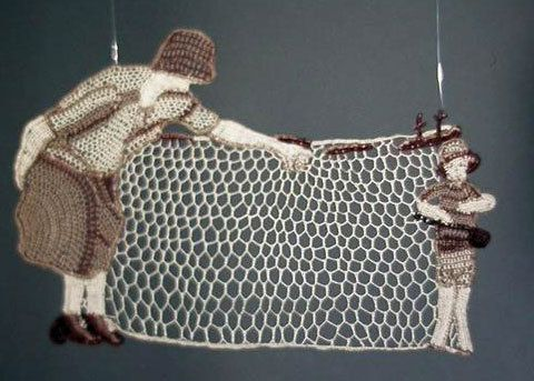 """Since I posted previously on my lace bobbins, I thought I would also post about a wonderful fiber arts artist, Dorie Millerson who uses the Italian Renaissance technique of """"punto in aria"""" -- """"stitch in the air"""" -- to produce..."""