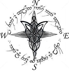 """Possible Tattoo design: """"Not all those who wander are lost"""" in Elvish and a compass with and evenstar in its center."""