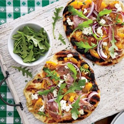 Grilled Peach Chutney Pizza with Prosciutto and Goat Cheese   Coastalliving.com
